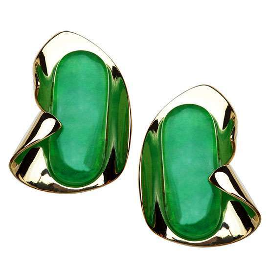 GOLD AND JADE CONTEMPORARY STATEMENT EARRINGS