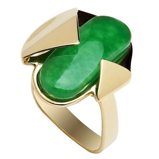 GOLD AND JADE CONTEMPORARY STATEMENT RING