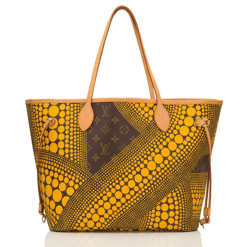 Louis Vuitton Yellow Monogram Kusama Waves Neverfull MM Tote Bag (Preloved - Excellent)