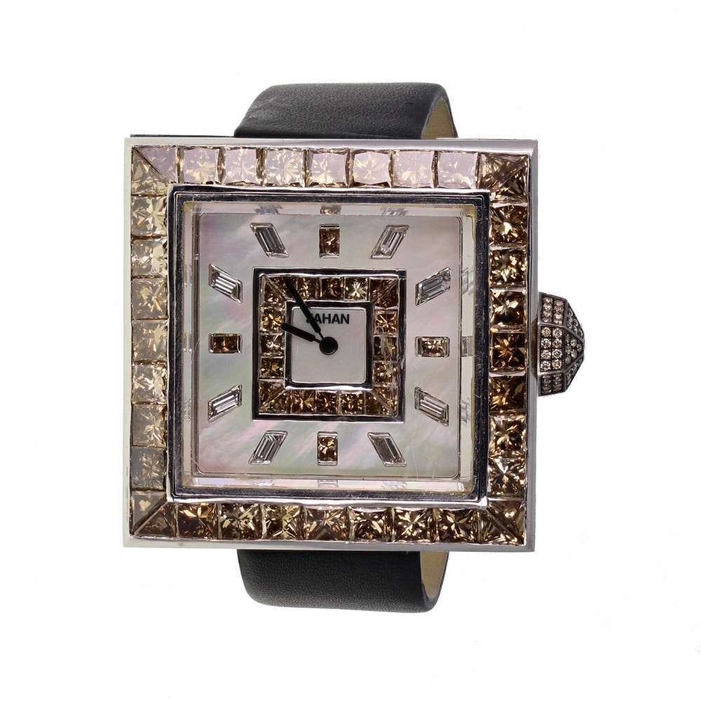 Jahan Fortuny Gold Cognac Diamond Set Watch