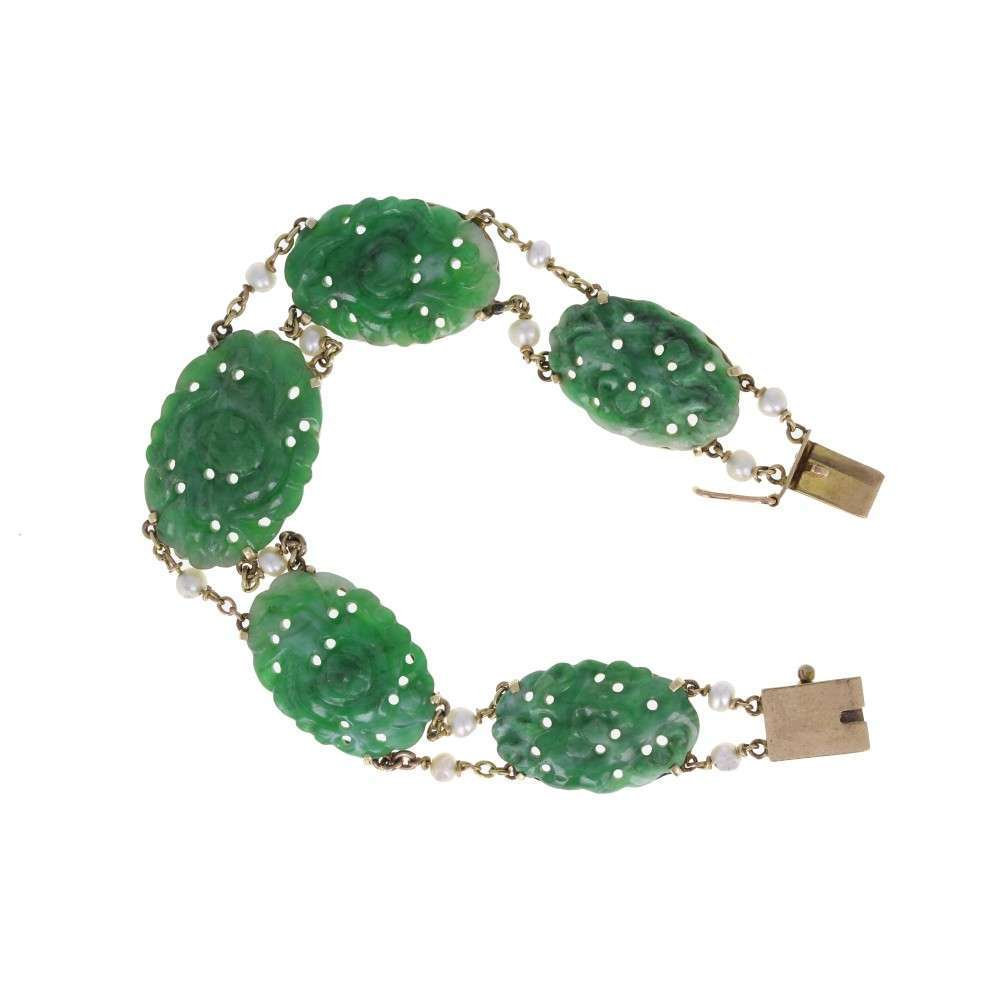 Green Jade and Seed Pearl Bracelet