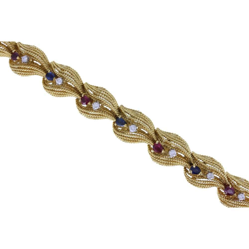 Rope Effect Bracelet set with Sapphires, Rubies and Diamonds
