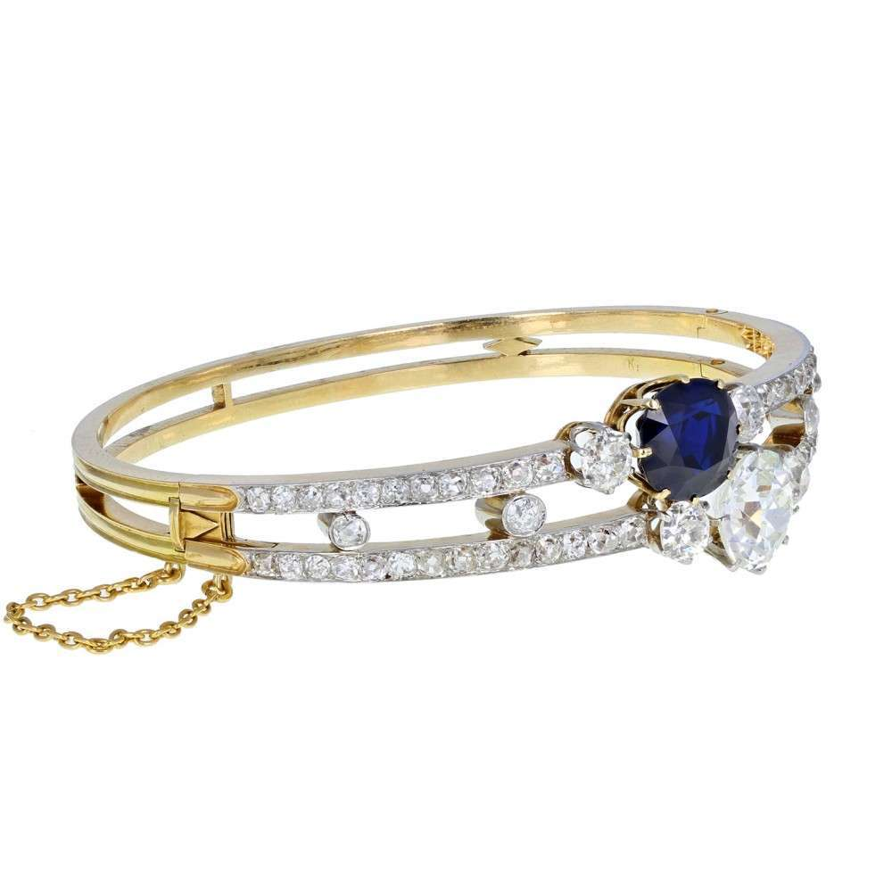 Antique Victorian Natural Sapphire Old Cut Diamond Bangle