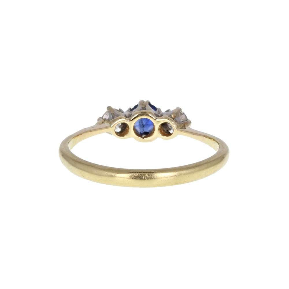 Antique Sapphire Diamond Three Stone Gold Ring