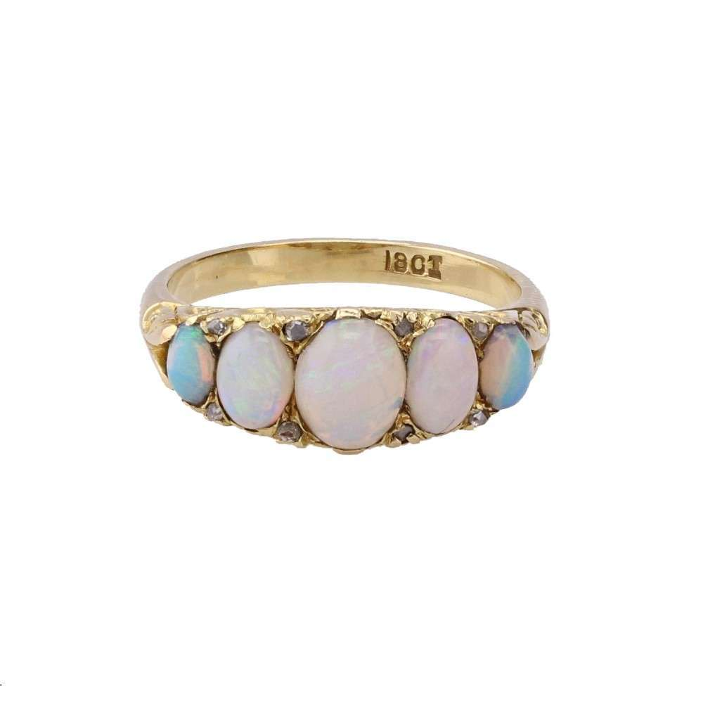 Antique Victorian Gallery Set Opal Diamond Ring