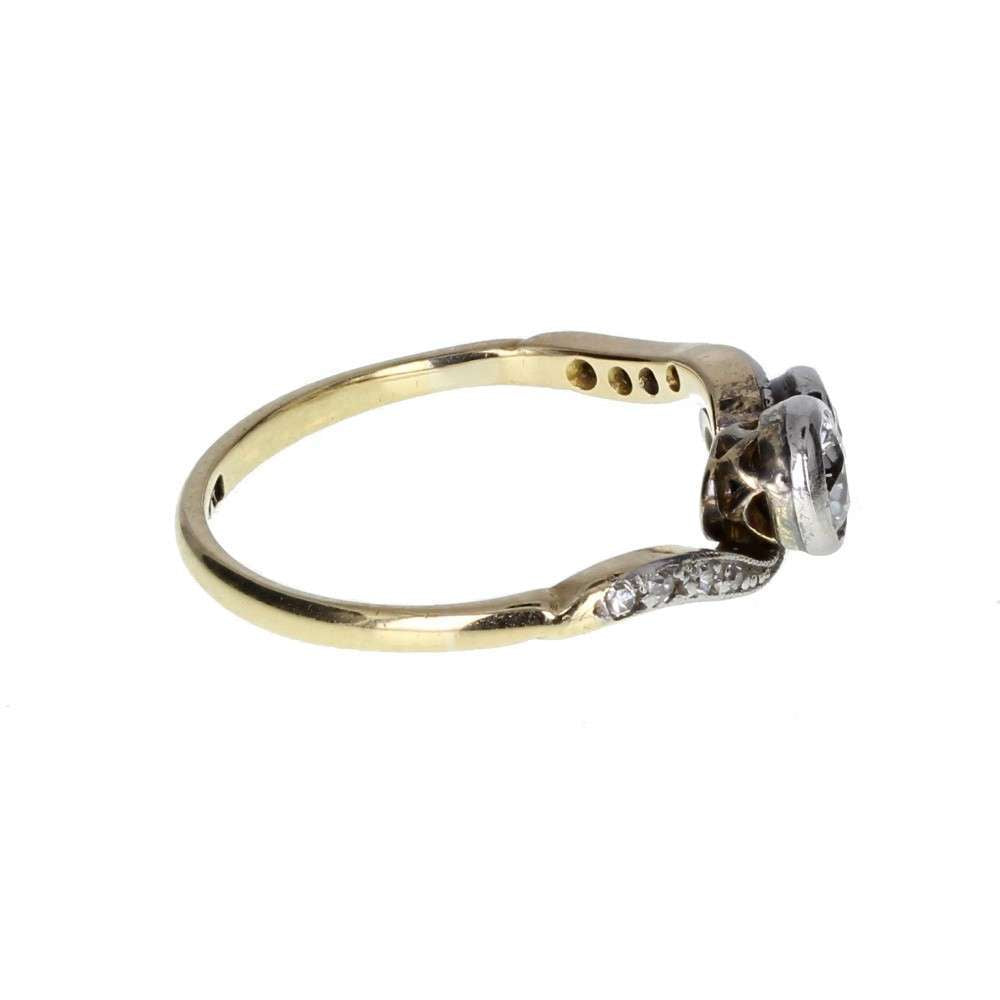 Antique Old Cut Diamond Two Stone Ring in 18ct Gold and Platinum