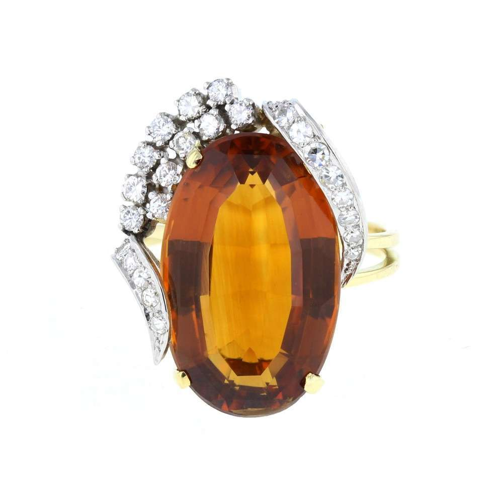 Honey Coloured Citrine and Diamond Cocktail Ring