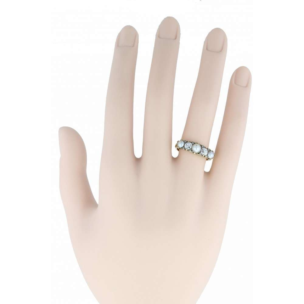 Diamond and Pearl Gallery Set Ring