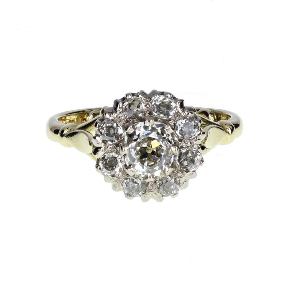 Antique Diamond Daisy Cluster Ring in 18ct Gold
