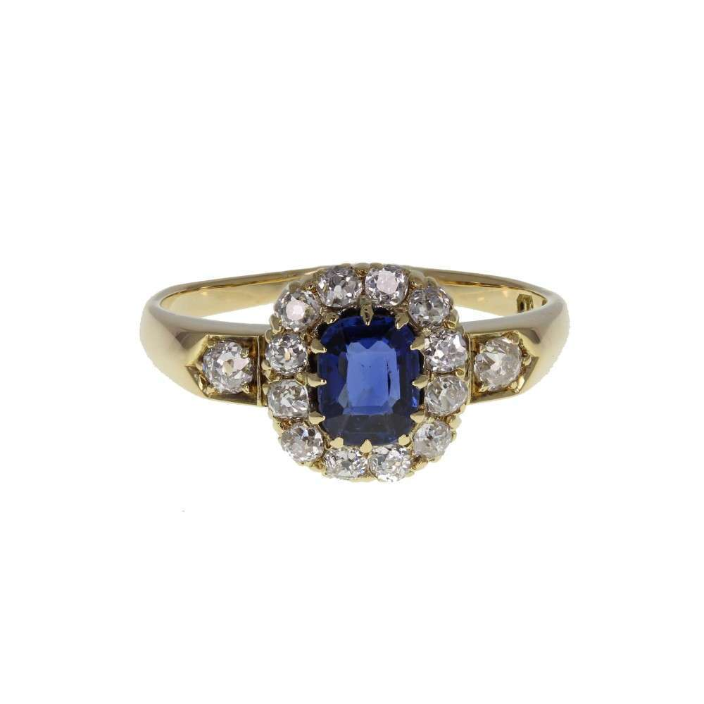 Antique Oval Sapphire and Diamond Cluster Ring