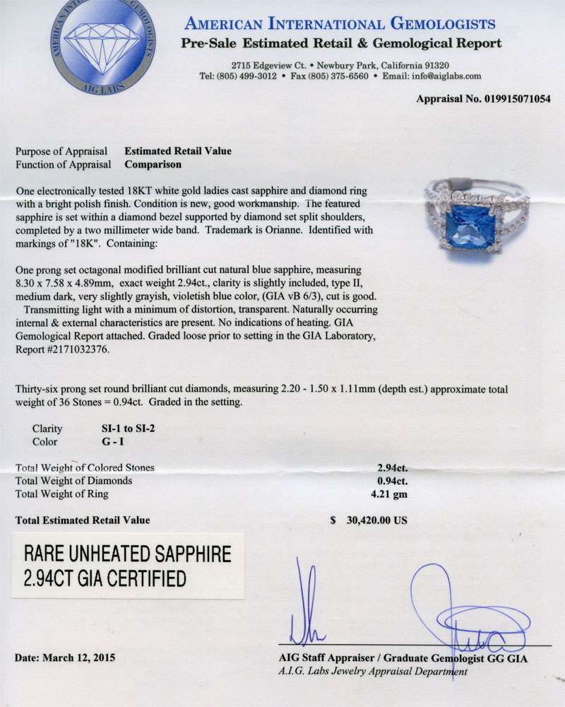 2.94ct UNHEATED Blue Sapphire and 0.94ctw Diamond Ring (GIA CERTIFIED)
