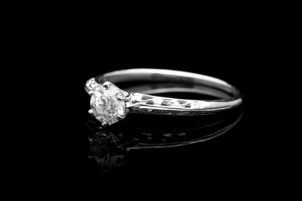 Edwardian 0.45 Carat Diamond Filigree Solitaire Ring in Platinum