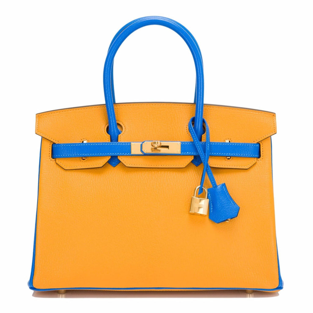 Hermes HSS Bi-Color Jaune D'Or and Blue Hydra Chevre Mysore Birkin 30cm Gold Har