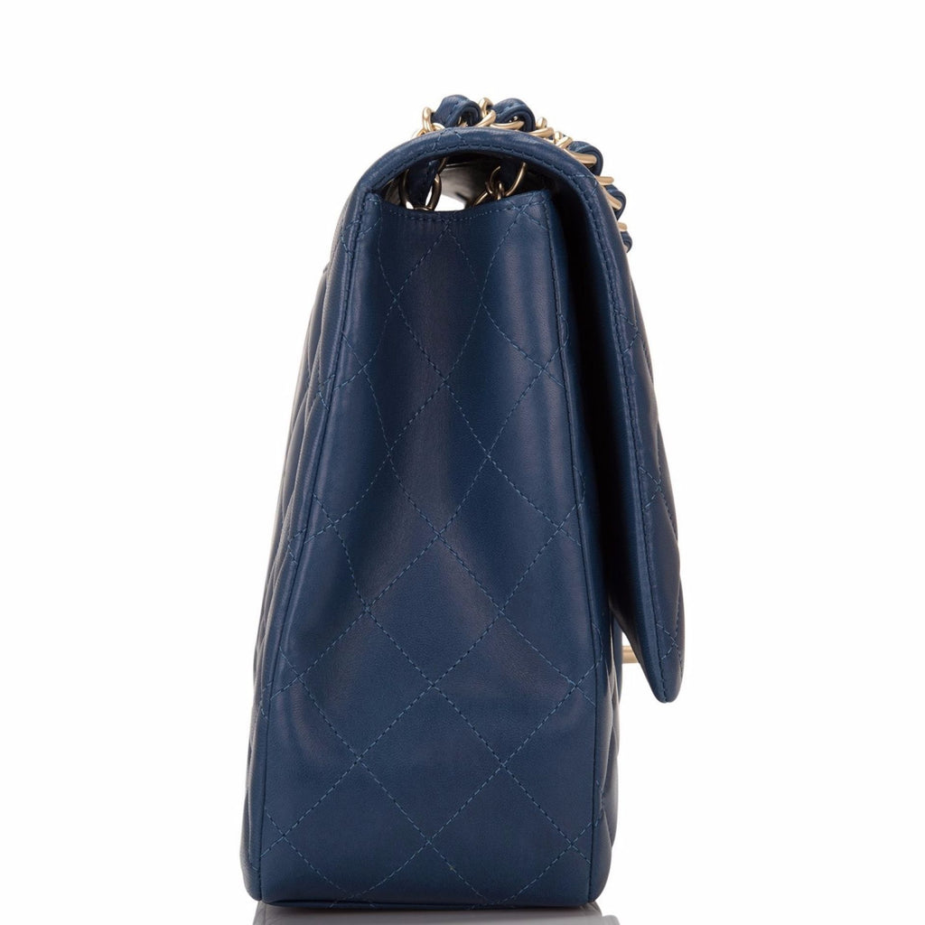 Chanel Dark Blue Quilted Lambskin Maxi Classic Single Flap