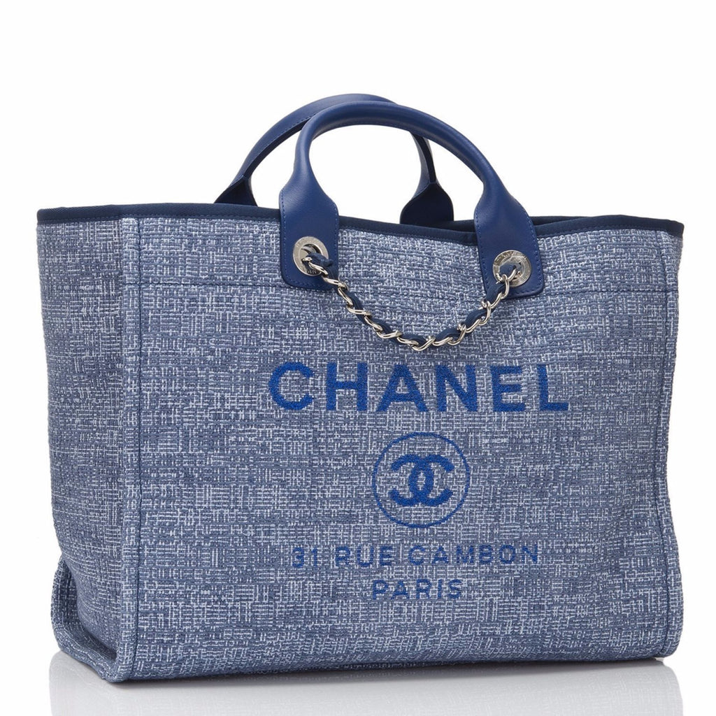 Chanel Medium Blue Canvas Deauville Tote