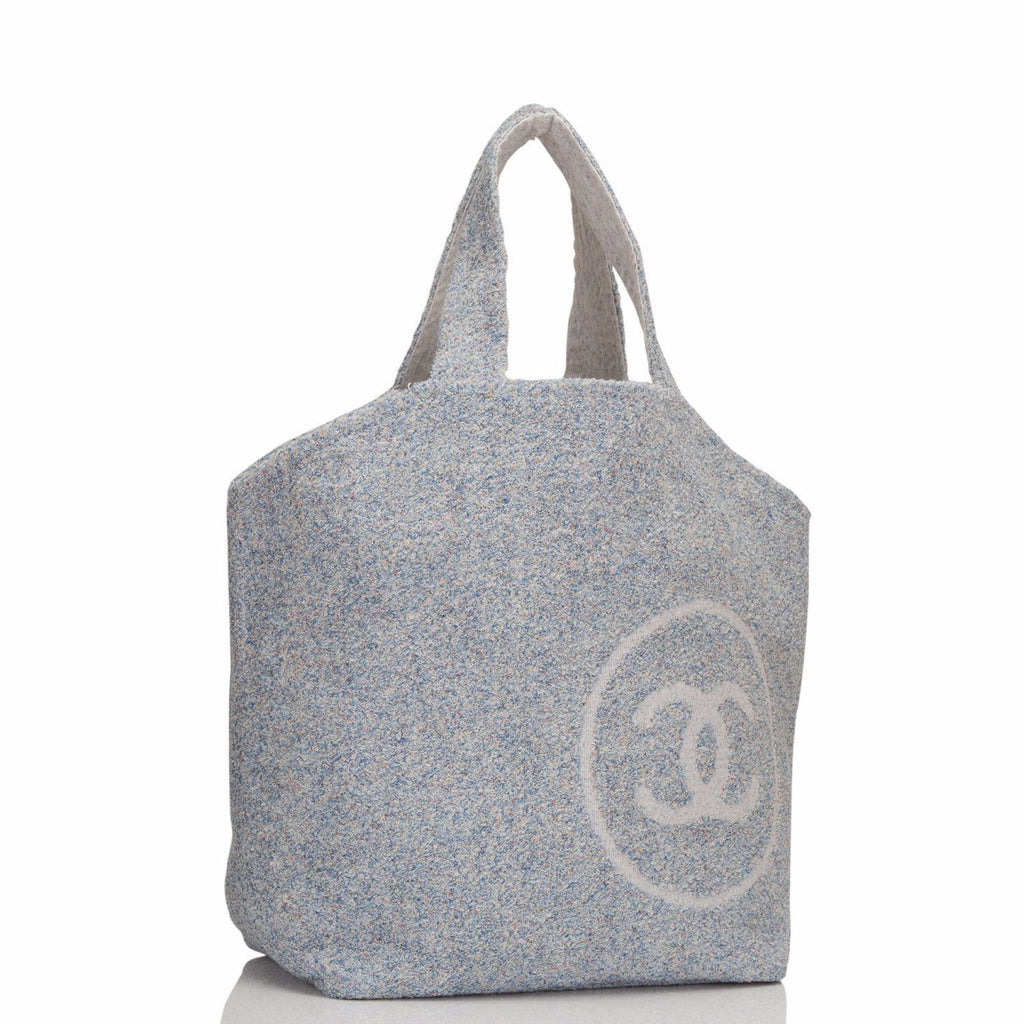 Chanel Blue Cotton Beach Tote & Towel Set