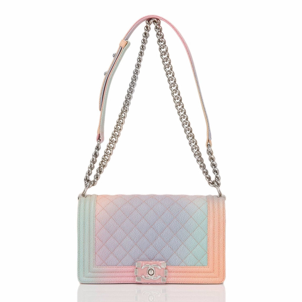 Chanel Pink Rainbow Printed Caviar Medium Boy Bag