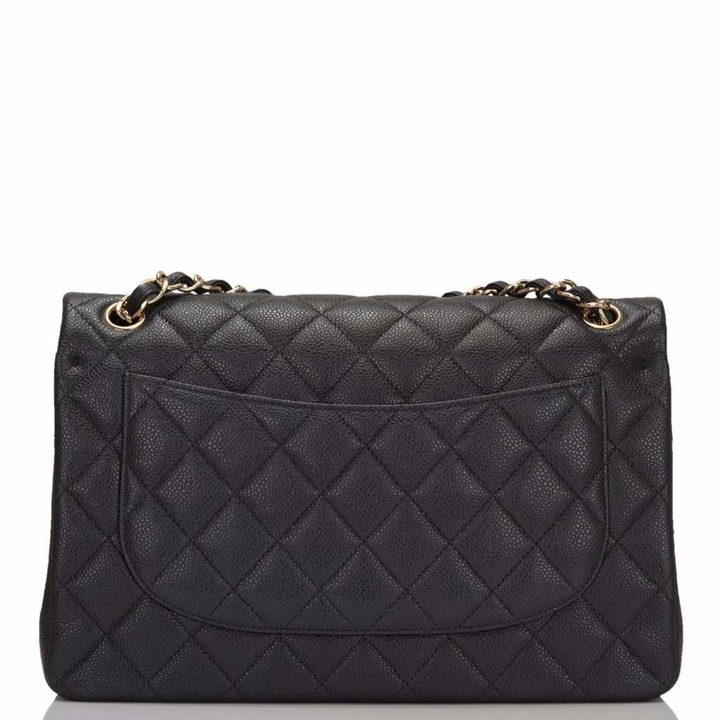 Chanel Dark Grey Shiny Quilted Caviar Jumbo Classic Double Flap Bag