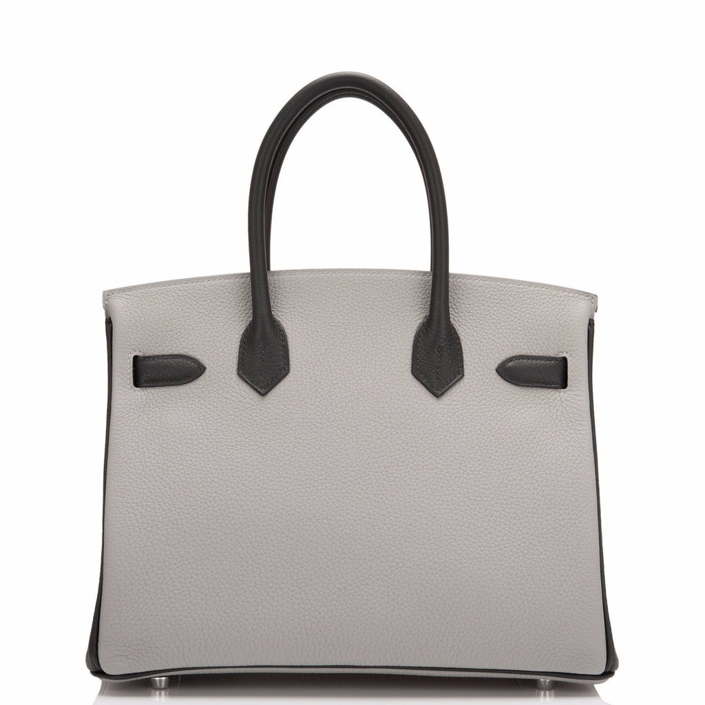 Hermes HSS SO Bi-Color Gris Mouette and Black Togo Birkin 30cm Brushed Palladium
