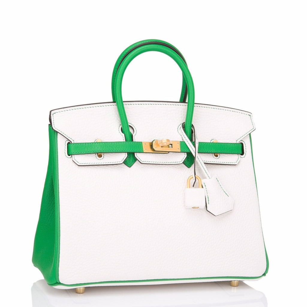 Hermes HSS SO Bi-Color White and Bamboo Clemence Birkin 25cm