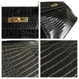 Hermes Hermès Kelly 32 Black Crocodile