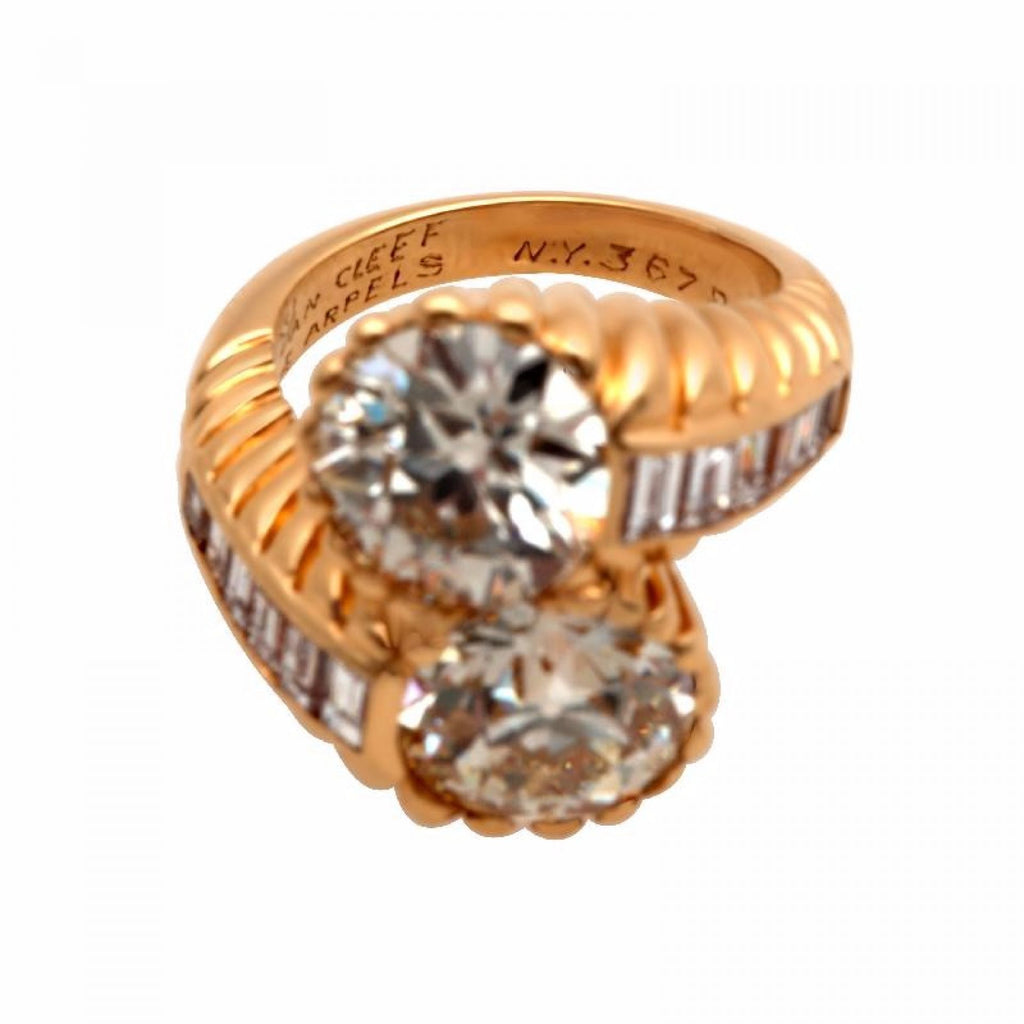 Van Cleef and Arpels Old Europrean Cut Two Diamond Ring 18K Yellow Gold