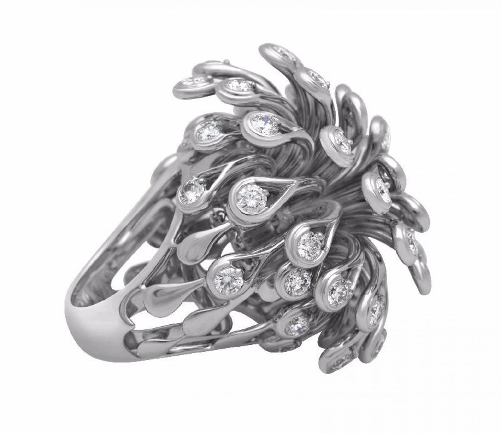 Christian Dior Feu D'Artifice 18K White Gold Diamond Ring
