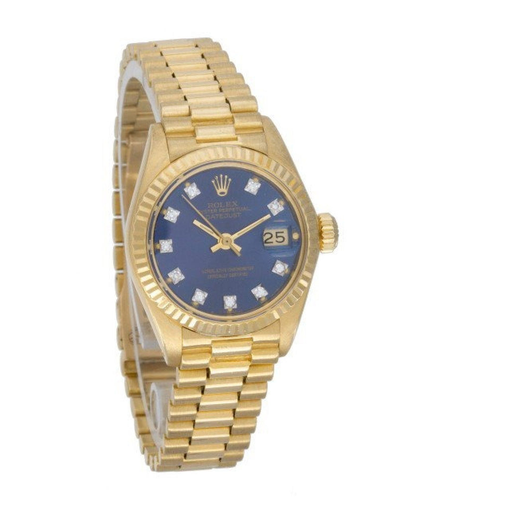 Rolex Datejust 6917 18k Yellow Gold, Blue diamond dial 26mm Automatic watch