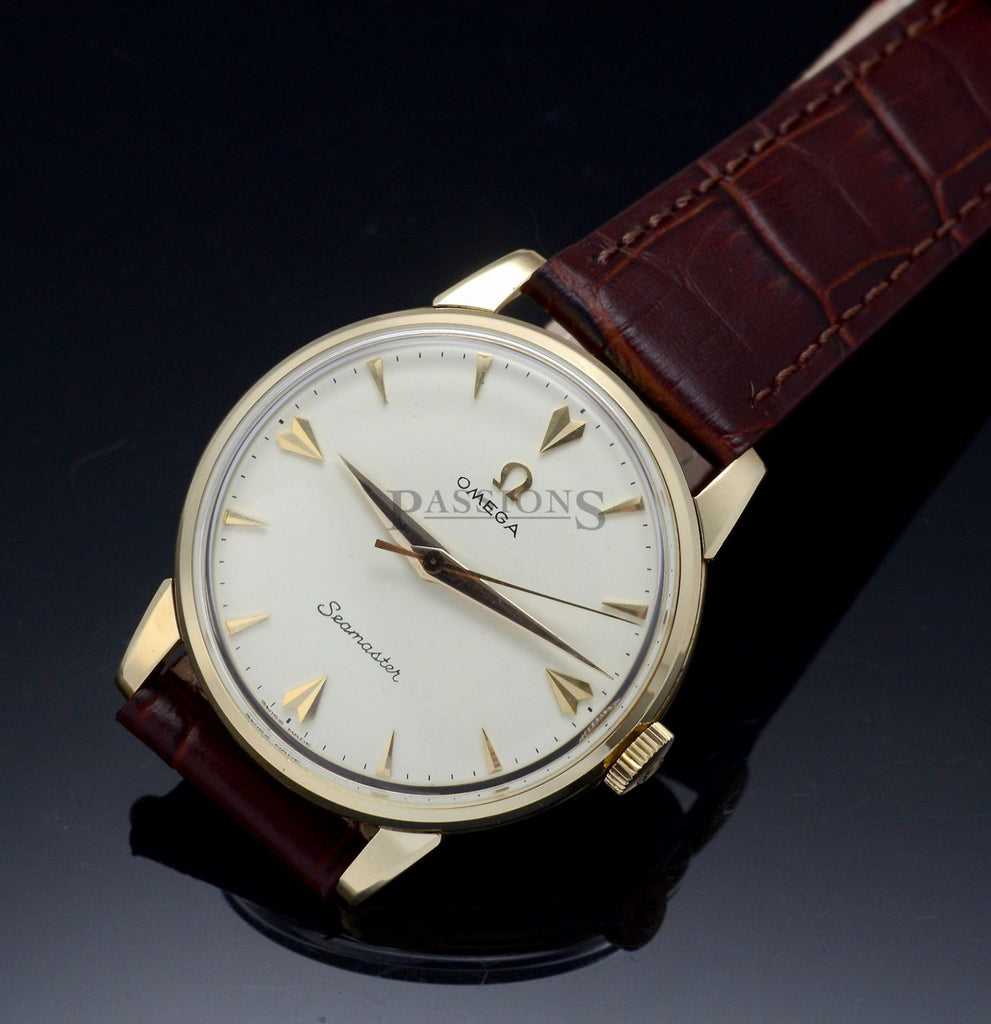 Omega, vintage 35mm C.1958 Ivory dial indirect center sweep seconds manual windi