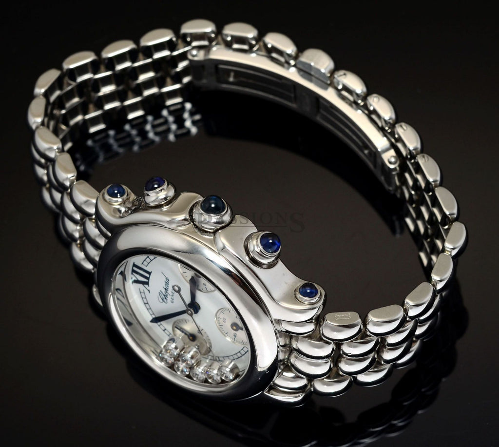 "Chopard 32mm ""Happy Sport"" Chronograph in Steel with 1.07 carats of Sapphire"