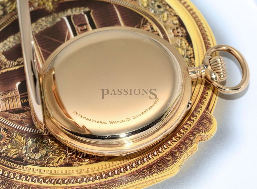 IWC, Circa 1912 55mm Open face pocket watch with enamel dial in 14KRG