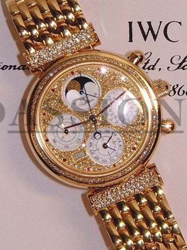 "IWC ""Da Vinci"" Perpetual Calendar+Chronograph in 18KYG with Diamonds"