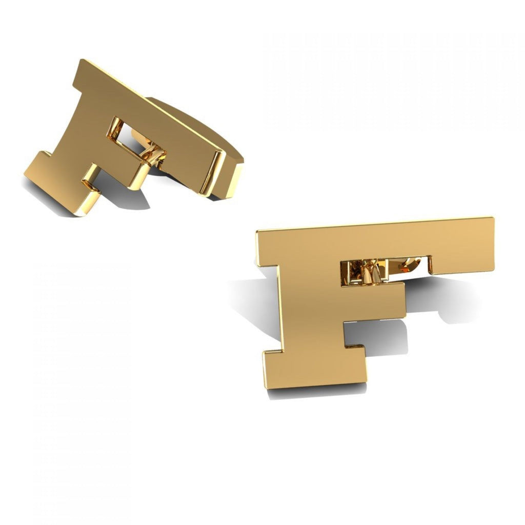 "CUFFLINKS LETTER ""F"" YELLOW GOLD"