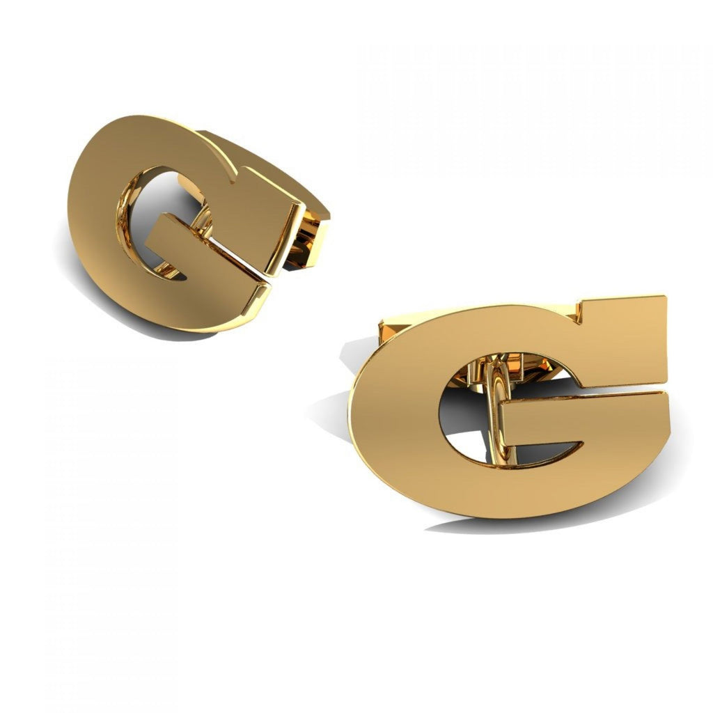 "CUFFLINKS LETTER ""G"" YELLOW GOLD"