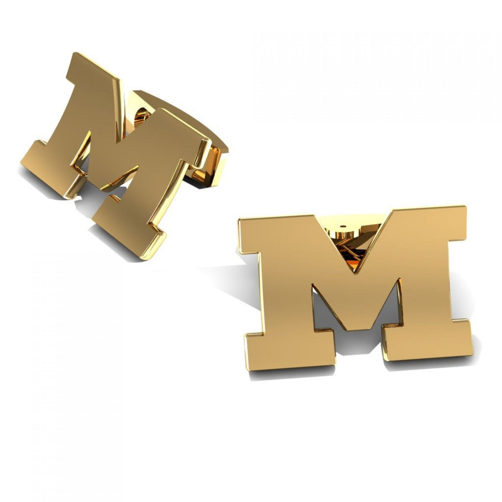 "CUFFLINKS LETTER ""M"" YELLOW GOLD"