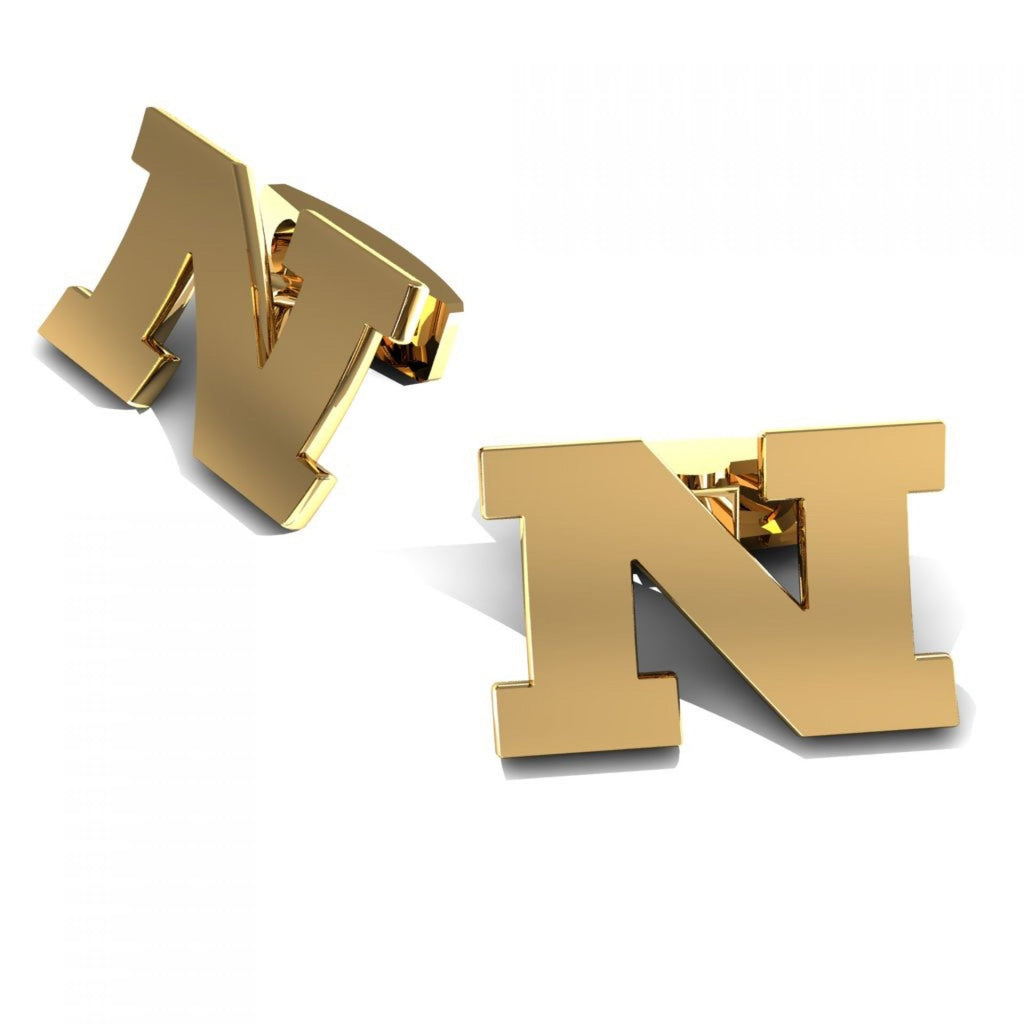 "CUFFLINKS LETTER ""N"" YELLOW GOLD"