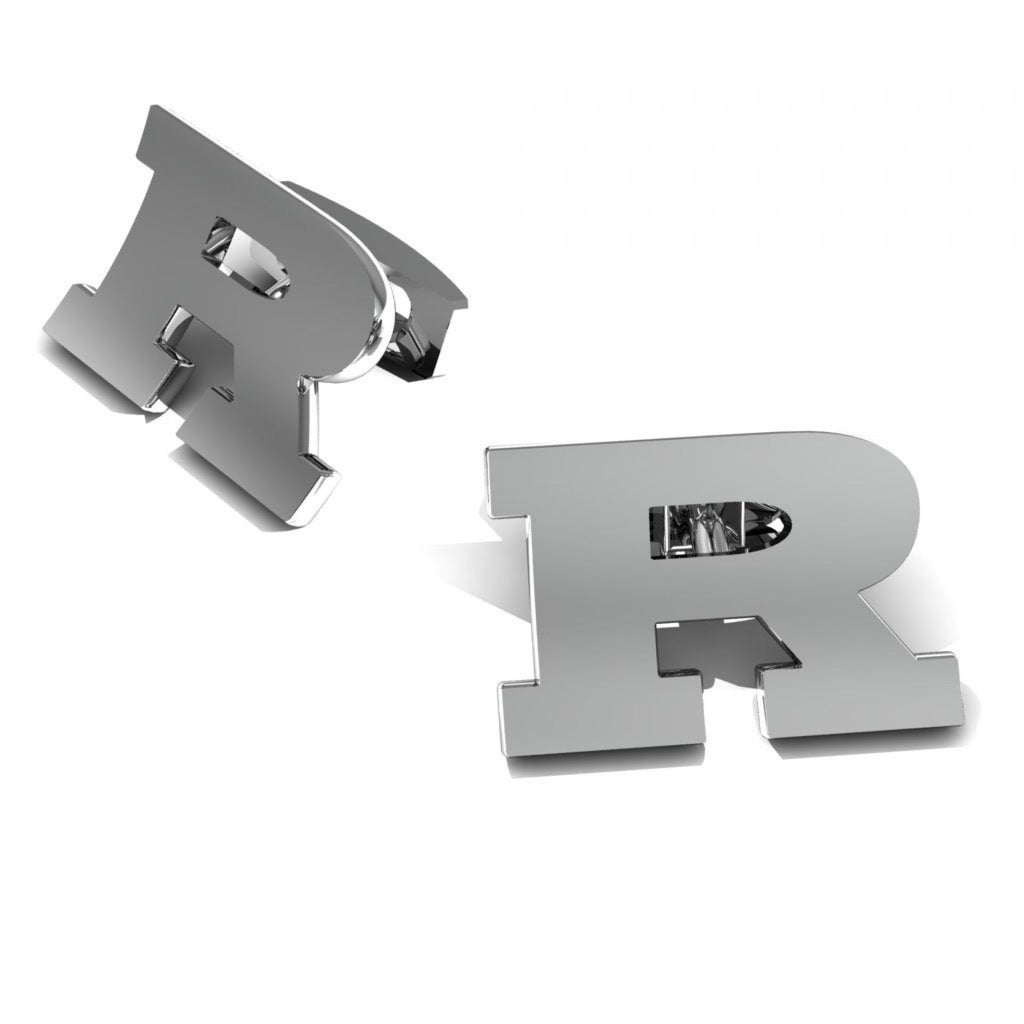 "CUFFLINKS LETTER ""R"" WHITE GOLD"
