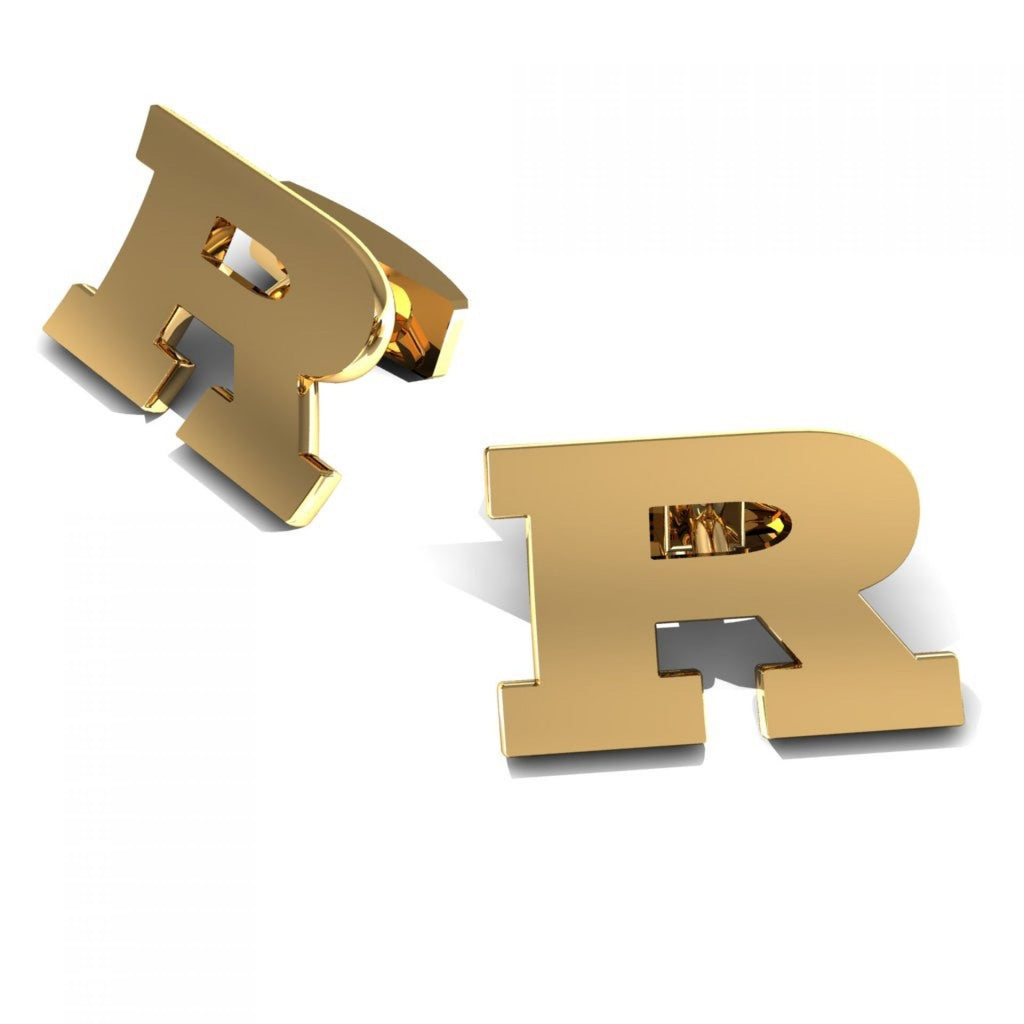 "CUFFLINKS LETTER ""R"" YELLOW GOLD"