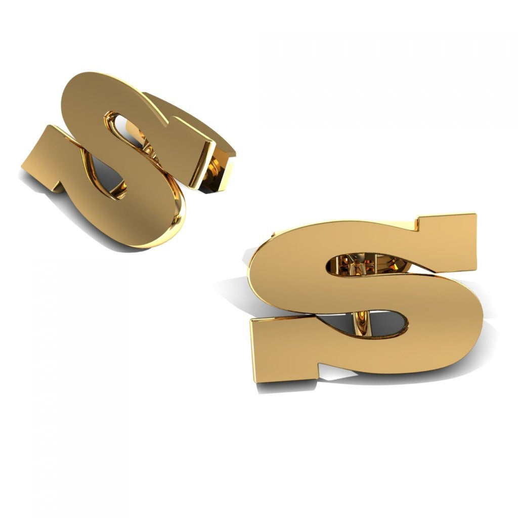 "CUFFLINKS LETTER ""S"" YELLOW GOLD"