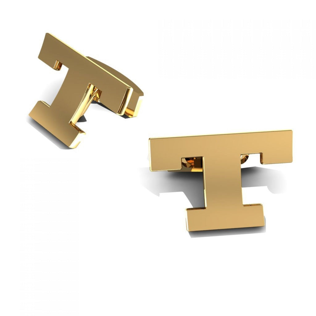 "CUFFLINKS LETTER ""T"" YELLOW GOLD"