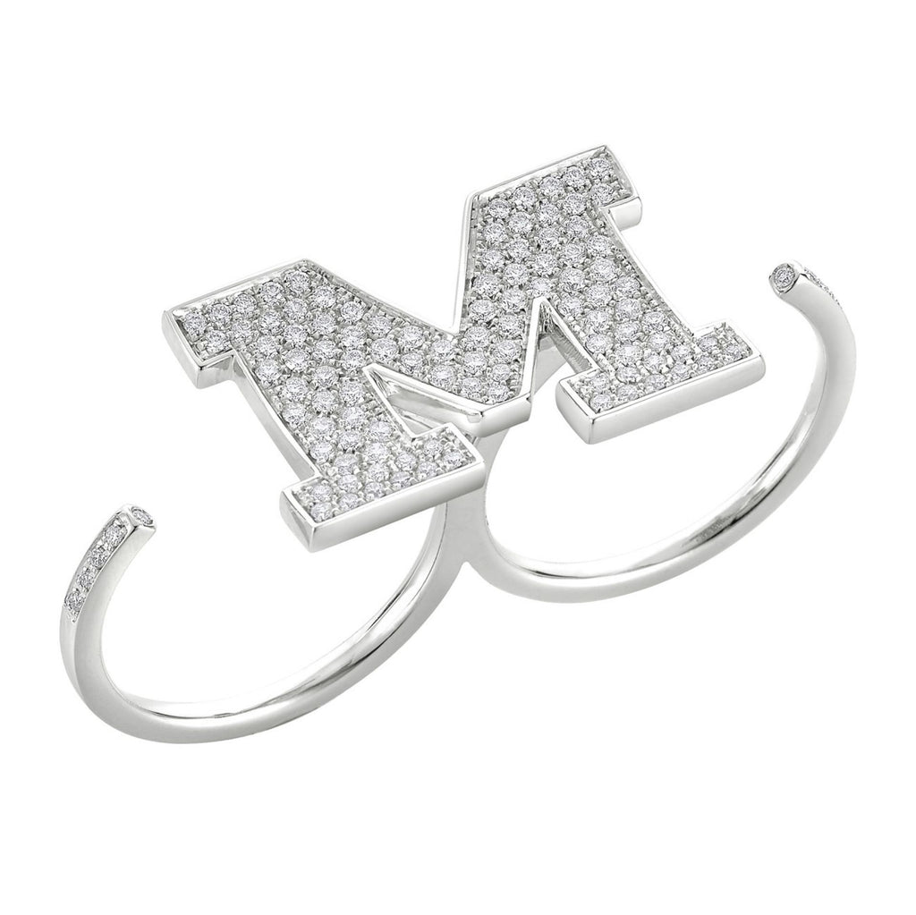 "DOUBLE DIAMOND RING WITH LETTER "" M """