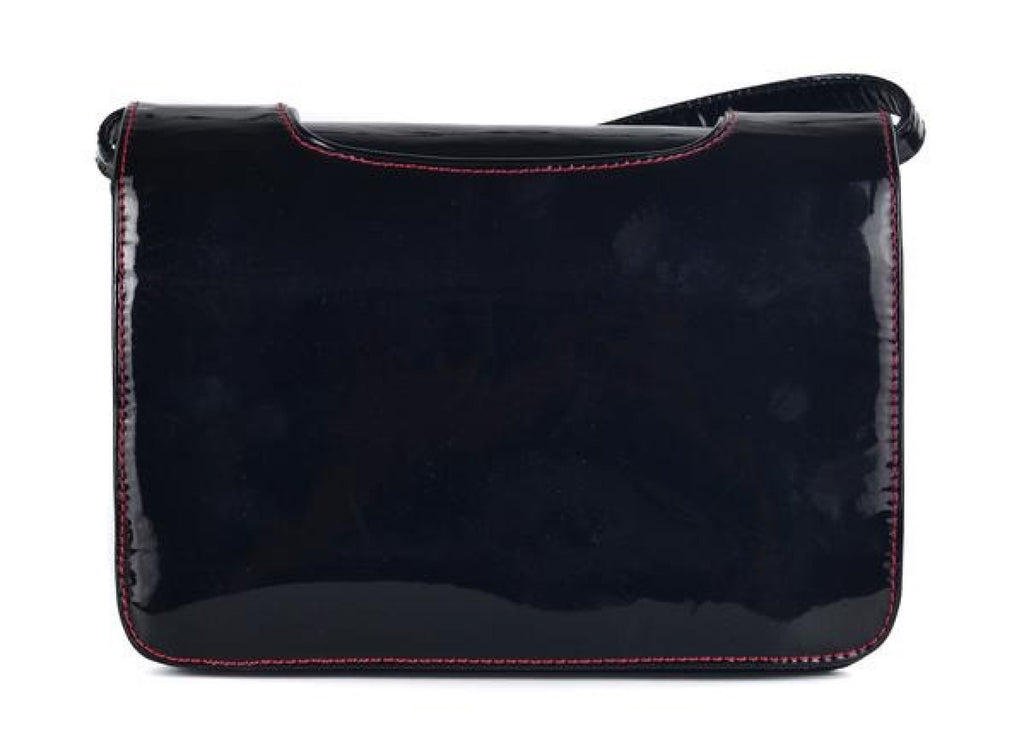 CHRISTIAN LOUBOUTIN WOMENS BLACK PATENT LEATHER SHOULDER BAG