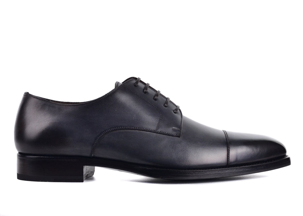 TOM FORD MENS DARK GRAY LEATHER GIANNI LACE UP OXFORDS