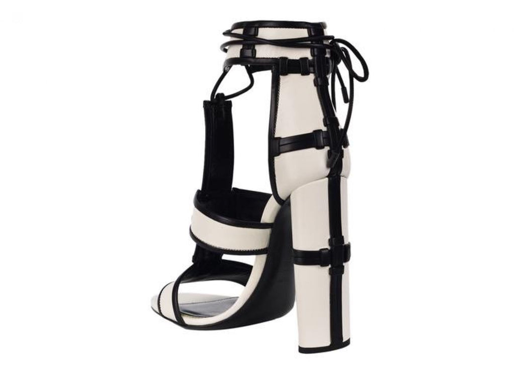 TOM FORD WOMENS WHITE HARRIET PANELED LEATHER PATCHWORK SANDALS PUMPS