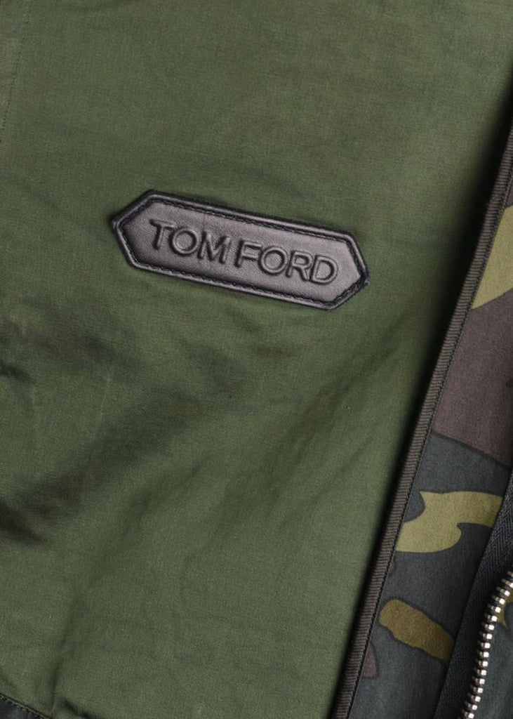 TOM FORD MENS GREEN CAMOUFLAGE SIGNATURE ZIP OVERSHIRT JACKET