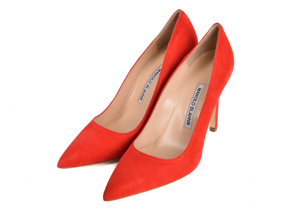 MANOLO BLAHNIK WOMENS BB RED SUEDE POINTED TOE PUMPS