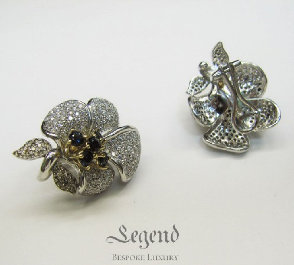 Bespoke Diamond Earrings by Legend Helsinki casted in 18k gold and platinum