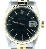Pre Owned Mens Rolex Two-Tone Datejust with a Black Dial 16233