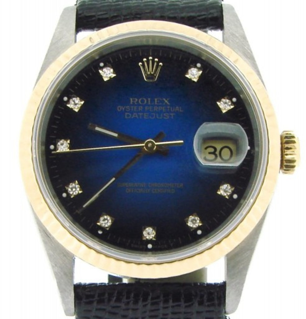 Pre Owned Mens Rolex Two-Tone Datejust with a Blue Diamond Dial 16233