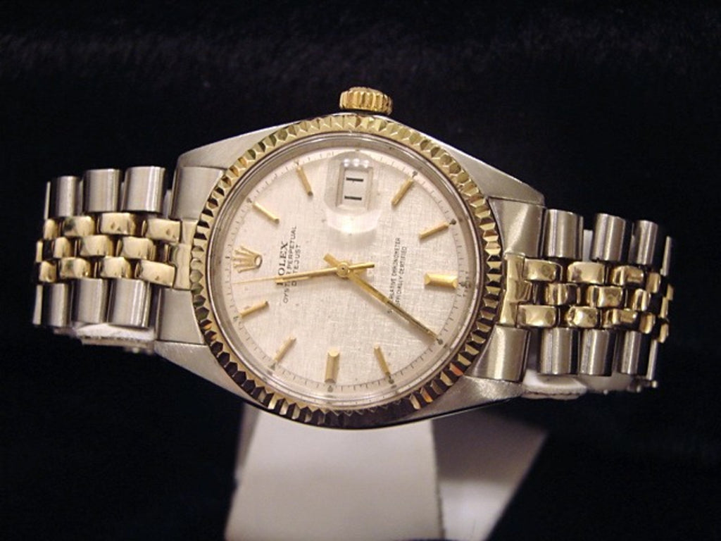 Pre Owned Mens Rolex Two-Tone Datejust with a Silver Linen Dial 1601